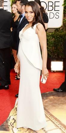 Kerry Washington in Balenciaga: come dobbiamo dirlo che il bianco in gravidanza non dona? E poi spero che le protuberanze all'altezza del seno siano pieghe del vestito perché sennò inorridisco!
