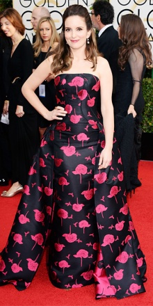 tina fey in  carolina herrera